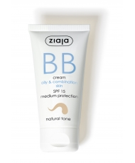 Ziaja BB – creme SPF 15 pele oleosa e mista tom natural 50ml